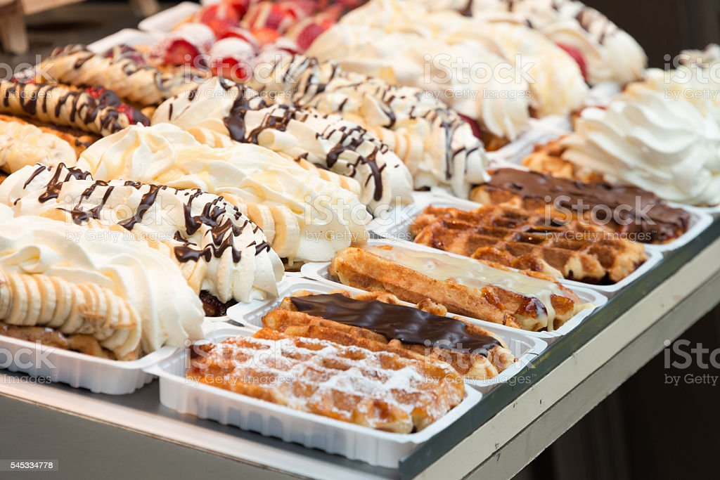 Selection of Belgian Waffles stock photo