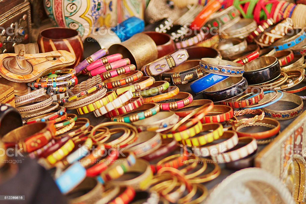 Selection of  bijouterie on Moroccan market stock photo