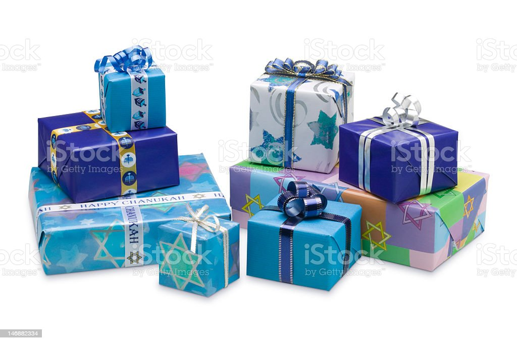 Selection of blue wrapped Hanukkah gifts isolated on white stock photo
