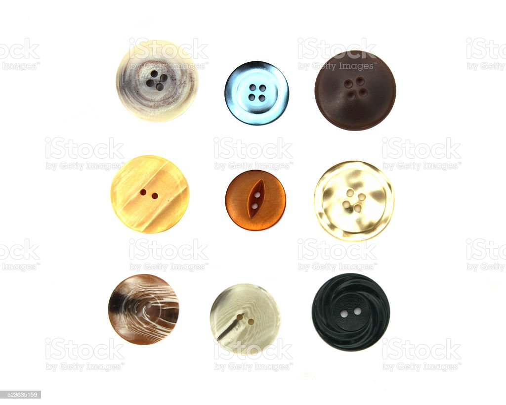 Selection of buttons on white background stock photo
