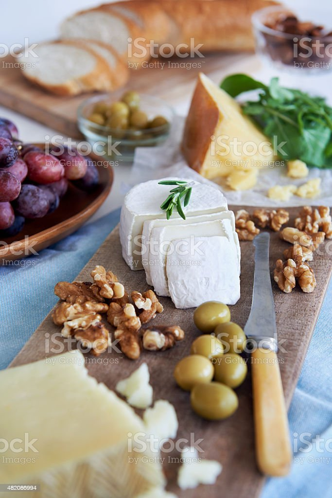 Selection of cheese for party stock photo