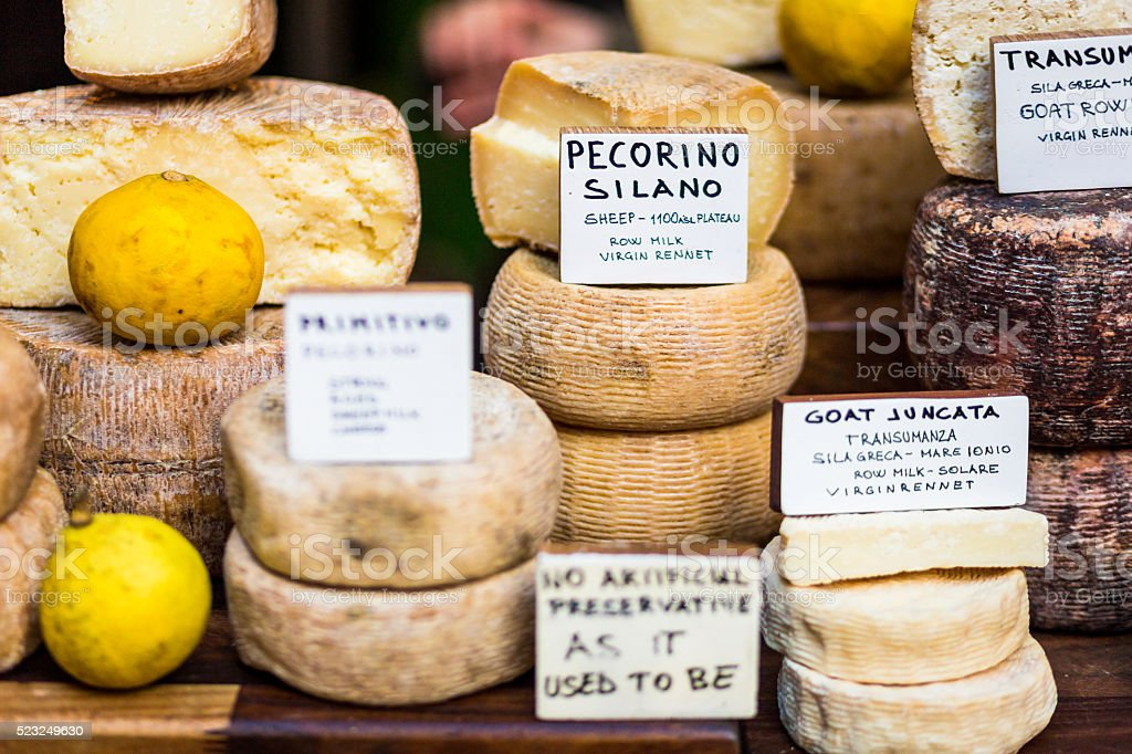 Selection of Cheeses on Sale at Borough Market, London stock photo