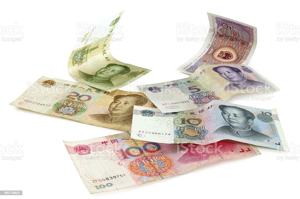 Selection of chinese currencies. stock photo