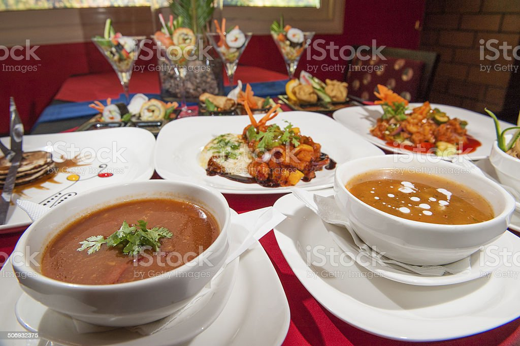 Selection of chinese food in a restaurant stock photo
