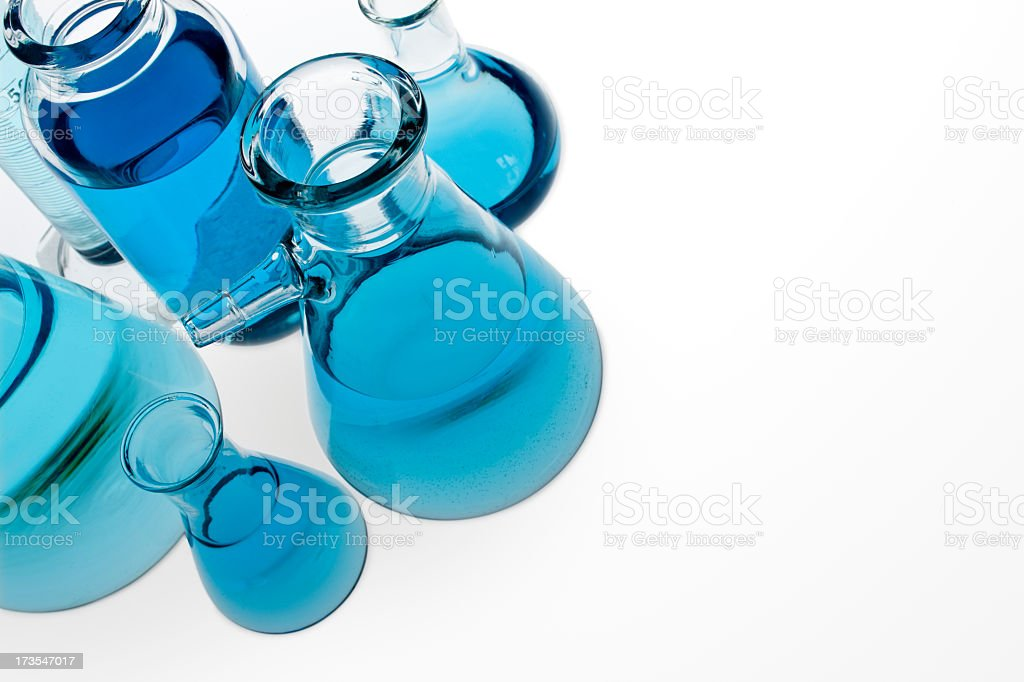 Selection of clear blue glassware royalty-free stock photo