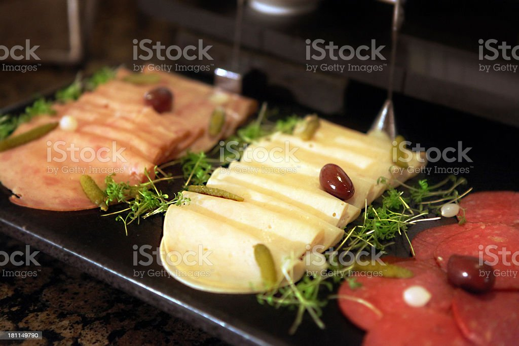 selection of cold cuts mortadella in a buffet royalty-free stock photo