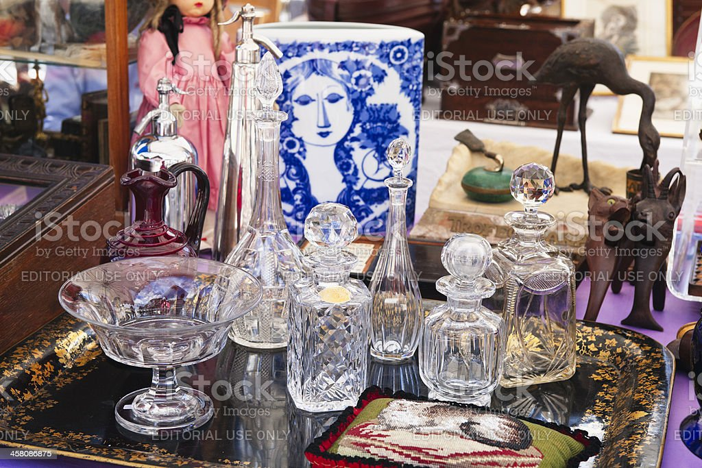 Selection of collectable glassware at Rougemont Brocante stock photo