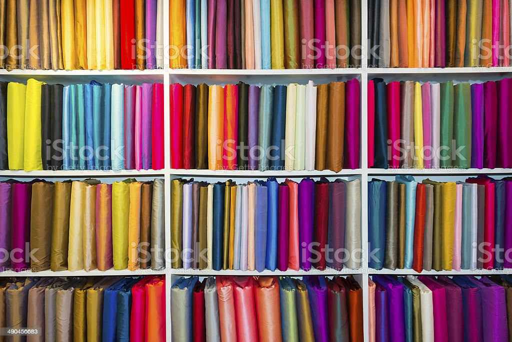 Selection of colorful fabrics stock photo