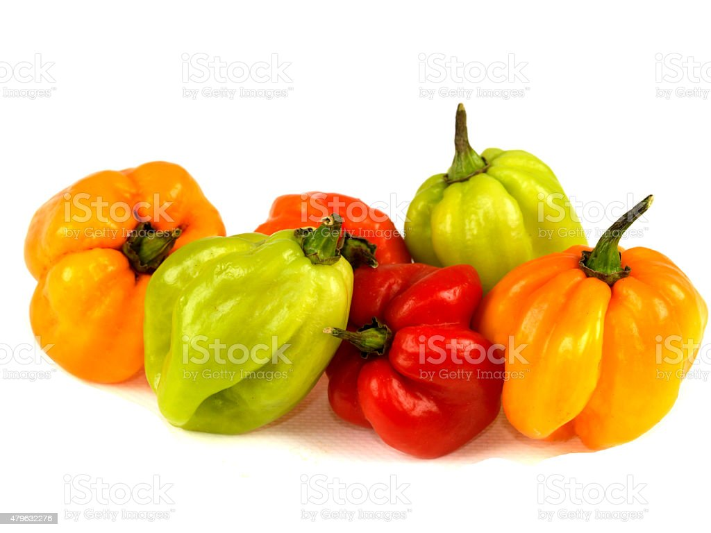 Selection of Colorful Hot Spicy Scotch Bonnet Chillies stock photo