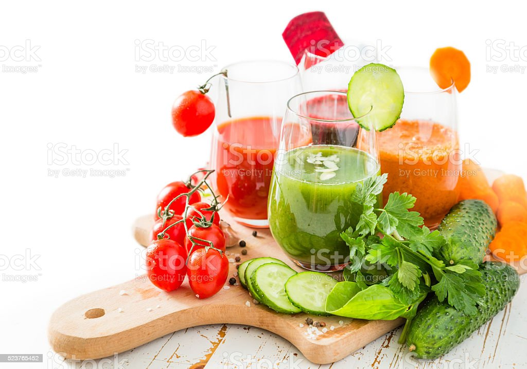 Selection of colorful vegetable juice in glasses stock photo