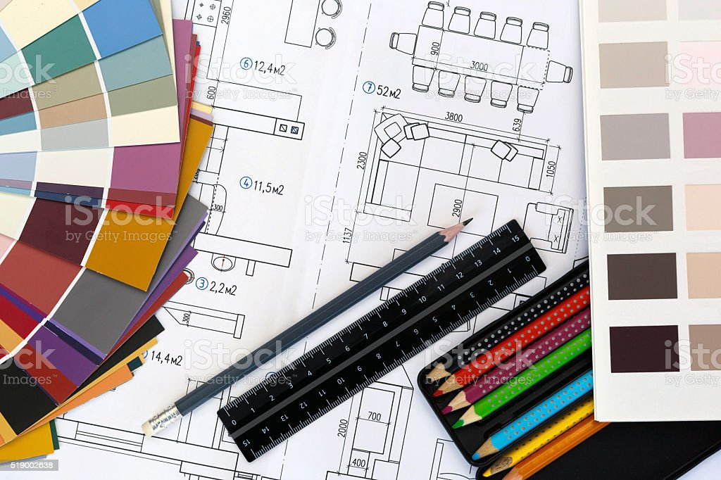 Selection of colors and materials for design and home renovation stock photo