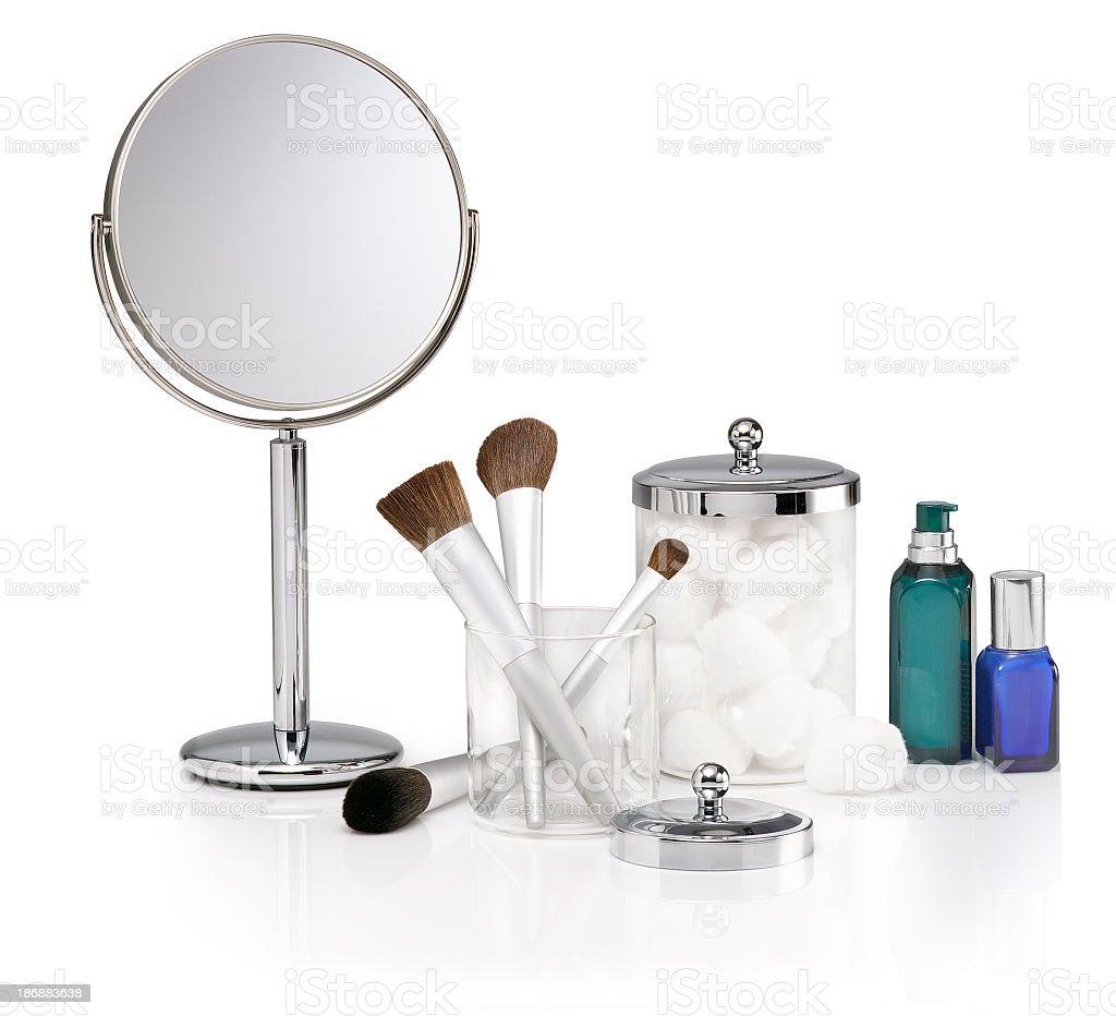 Selection of cosmetic items on white background royalty-free stock photo