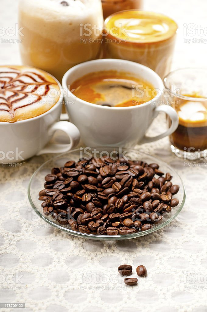 selection of different coffee type royalty-free stock photo