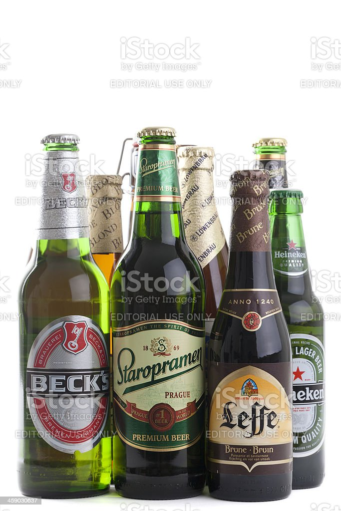 Selection of European Beers stock photo