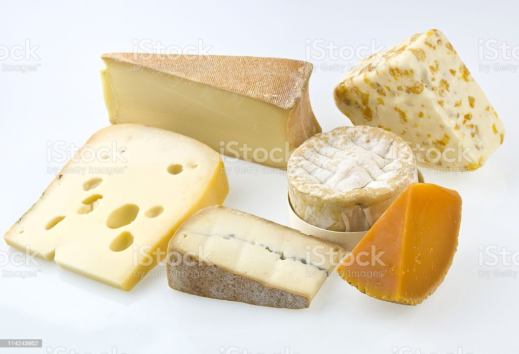 Selection of fancy cheeses royalty-free stock photo