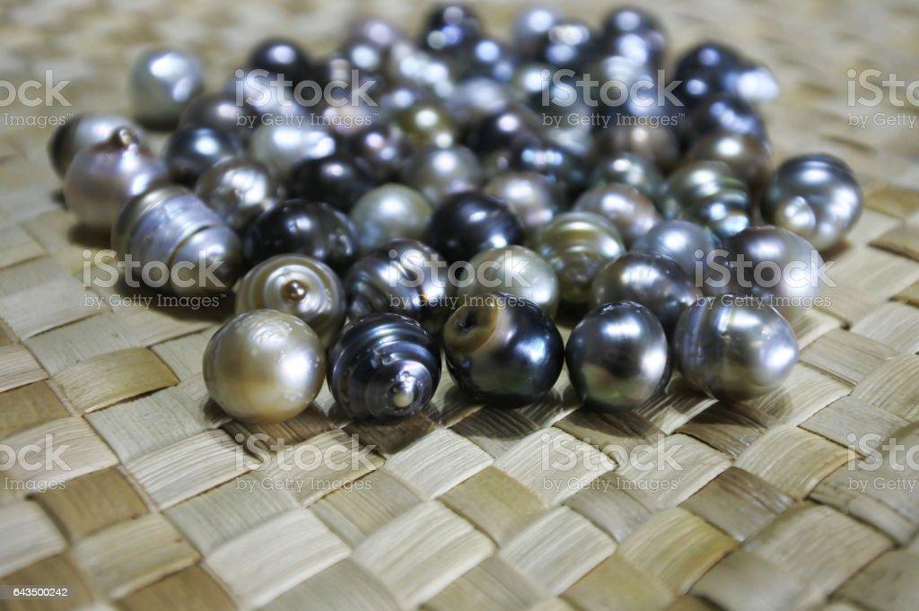 Selection of Fiji Black lip oyster black pearls stock photo