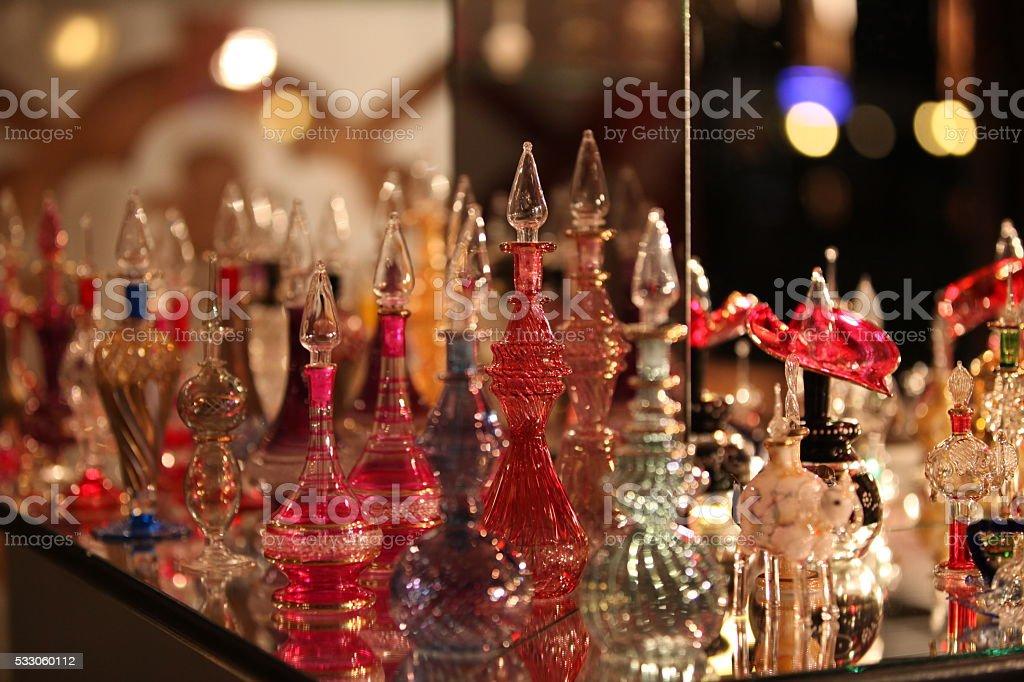 Selection of fine arabic perfume stock photo