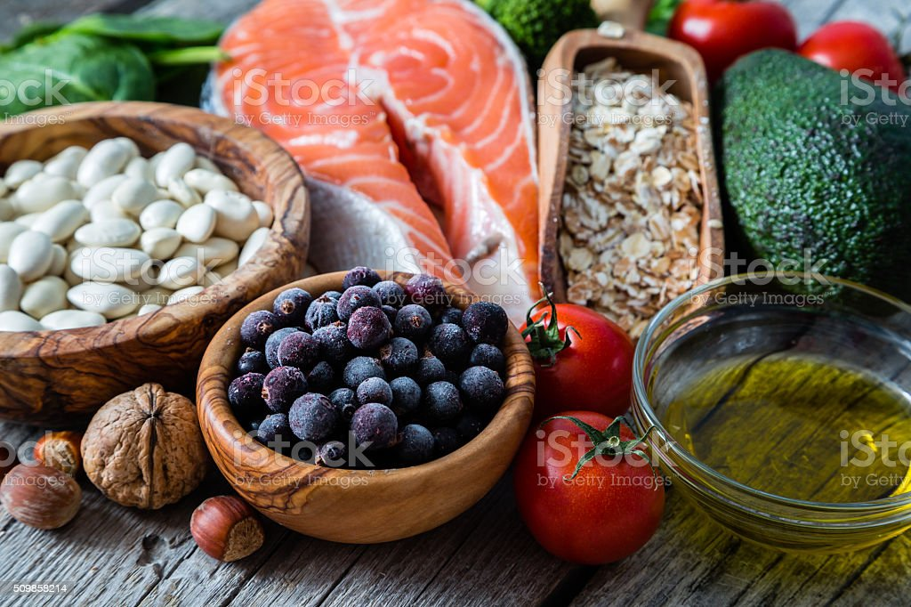 Selection of food that is good for the heart stock photo