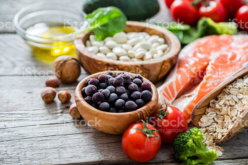 Selection of food that is good for the heart royalty-free stock photo