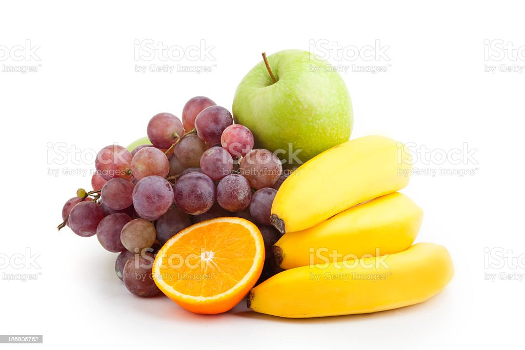Selection of fresh fruit on a white background stock photo