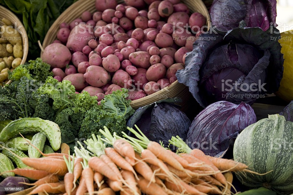 A selection of fresh vegetables at the farmers market stock photo