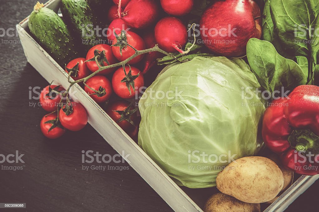 Selection of fresh vegetables from farmers market stock photo
