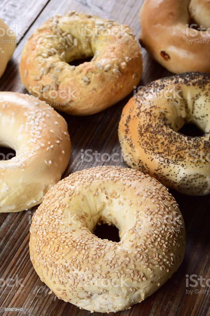 Selection of Freshly Baked Bagels with Copy Space stock photo