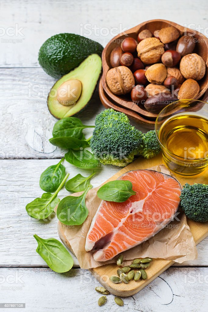Selection of healthy fat sources food, life concept stock photo
