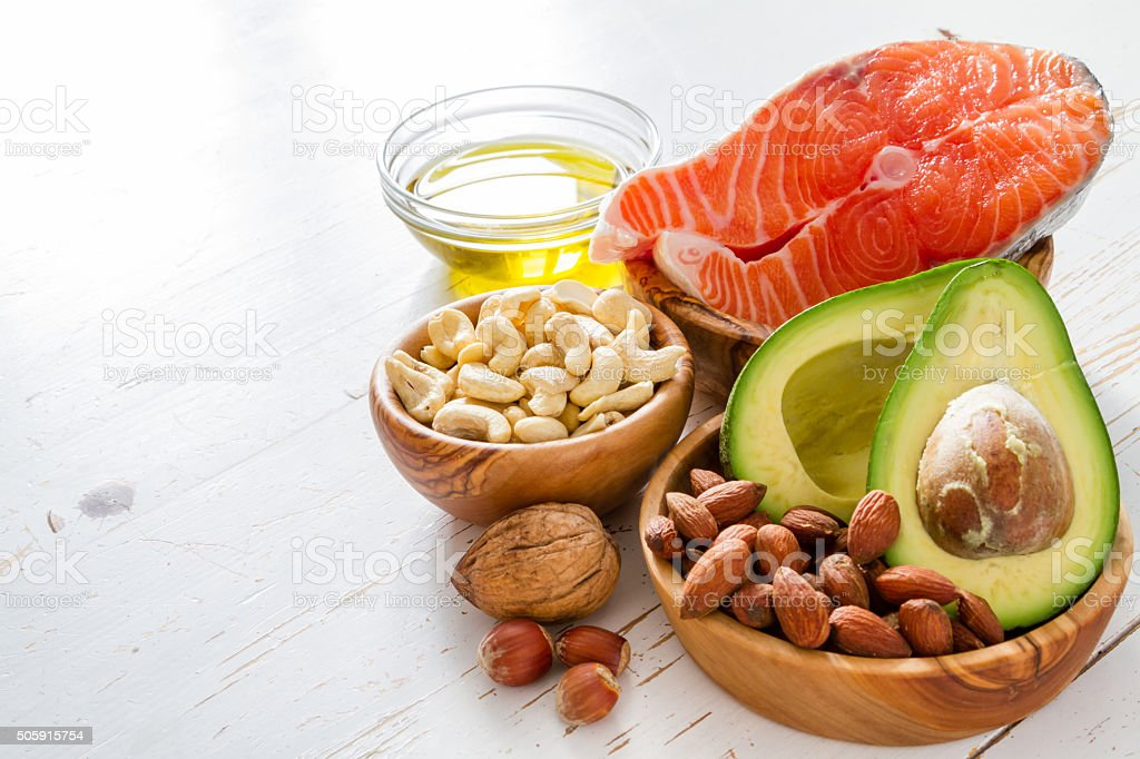 Selection of healthy fat sources stock photo