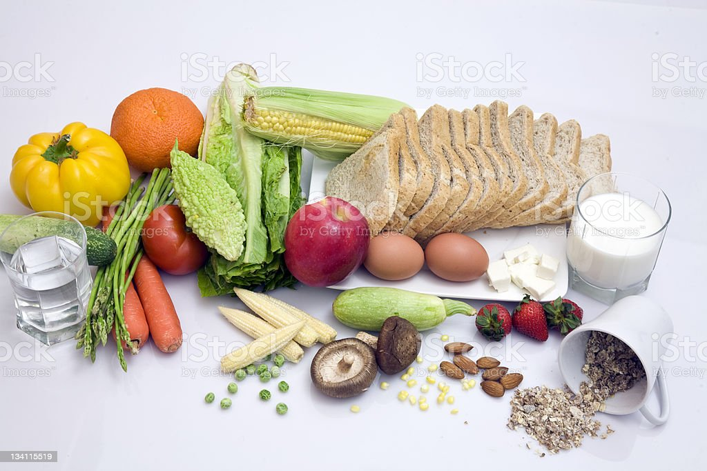 Selection of healthy food on white background stock photo