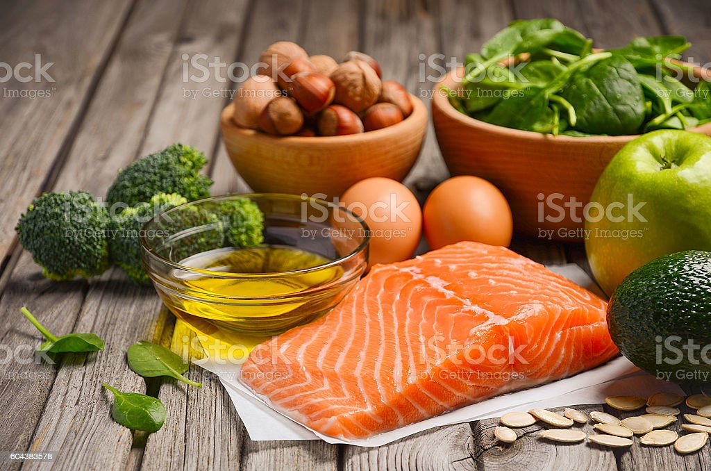 Selection of healthy products. Balanced diet concept. stock photo