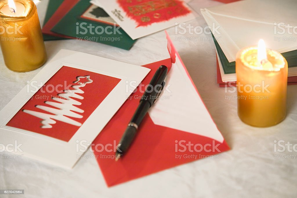 selection of home made Christmas cards on a table stock photo