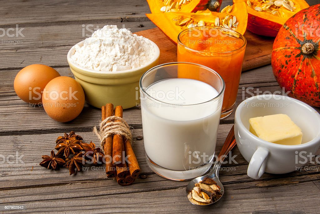 Selection of ingredients for making a traditional pumpkin pie stock photo