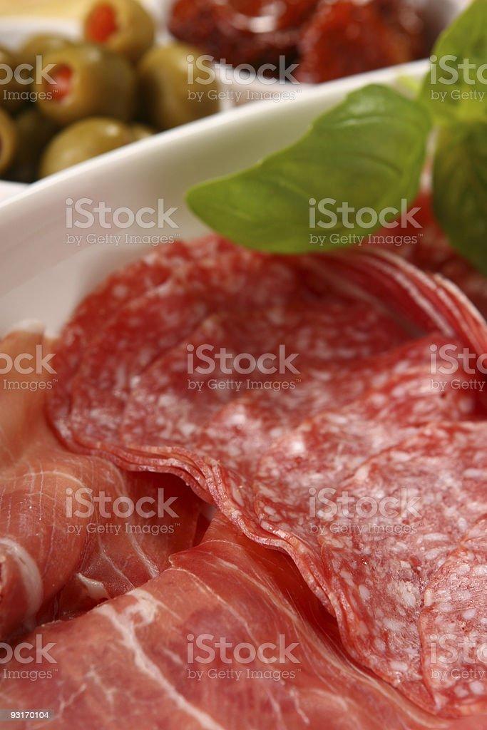 Selection of Italian antipasto royalty-free stock photo