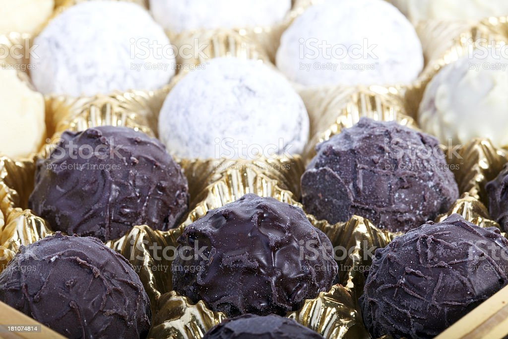 Selection of luxurious chocolate truffles royalty-free stock photo