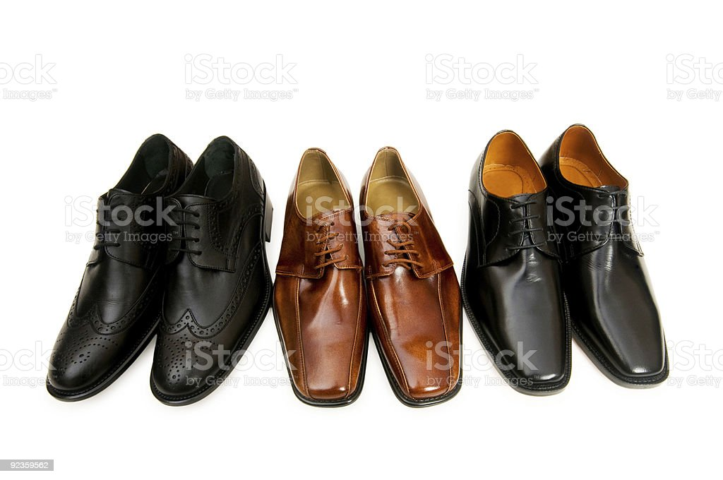 Selection of male shoes isolated on white royalty-free stock photo
