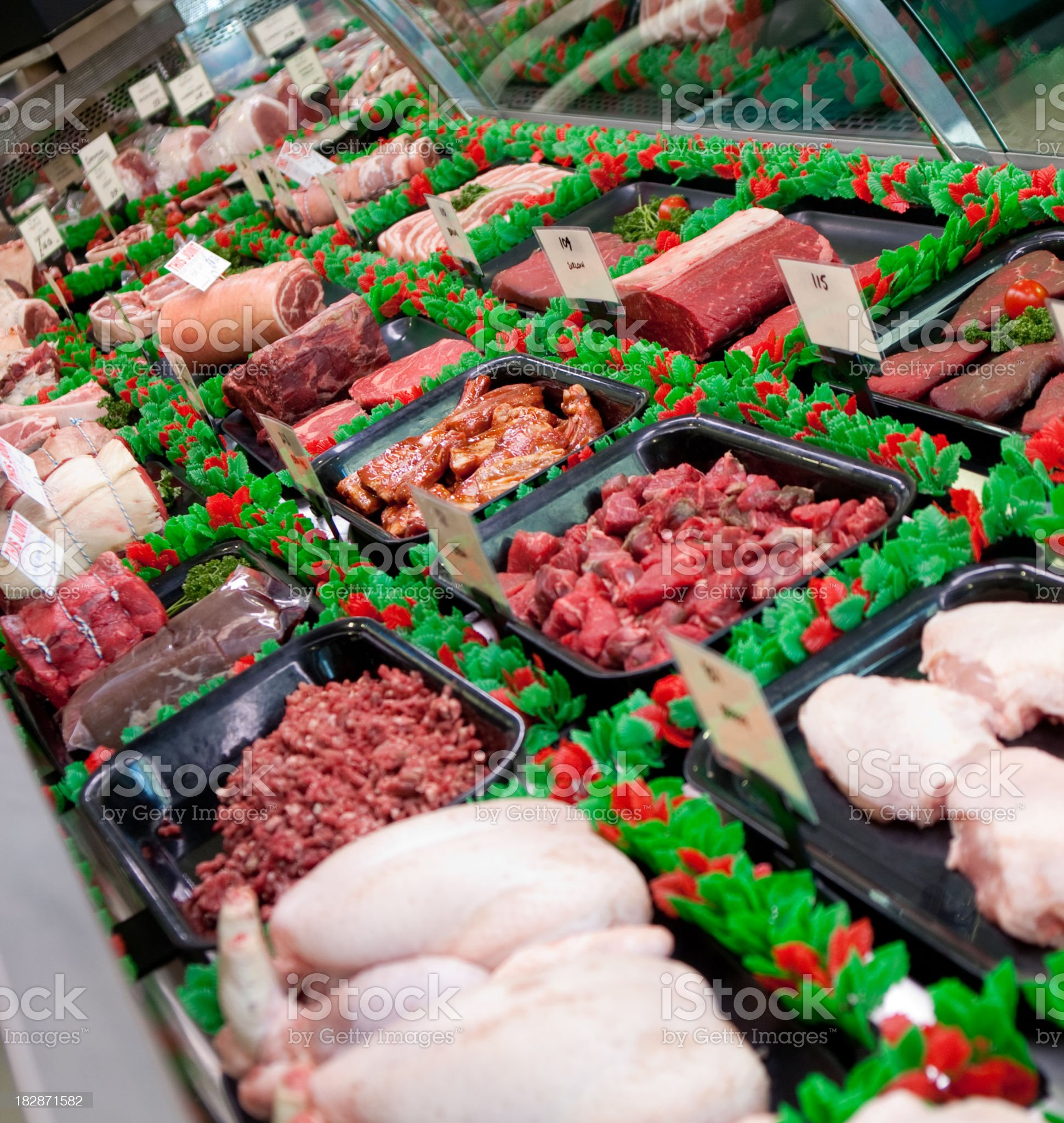 Selection of meats in the butchers shop royalty-free stock photo