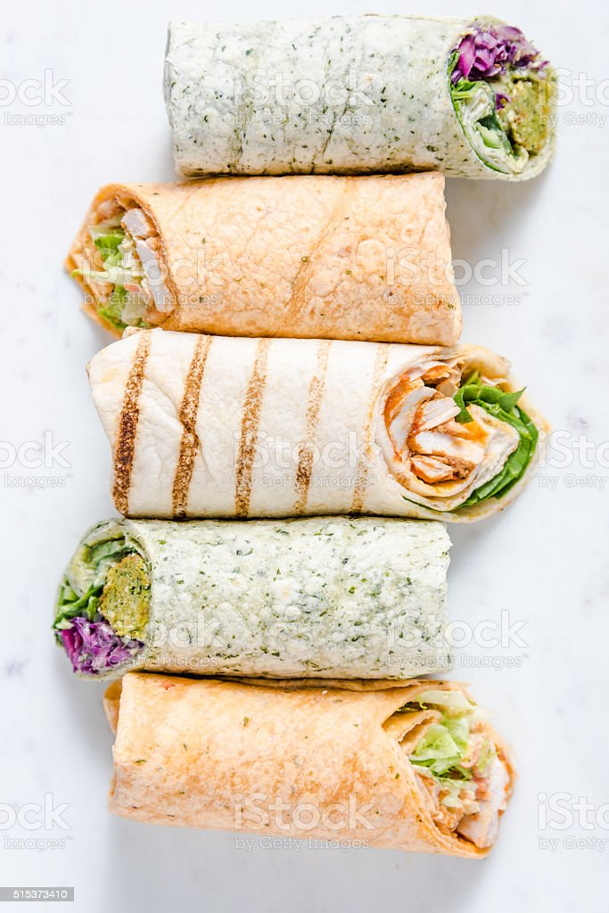 Selection of mexican healthy burrito wraps stock photo