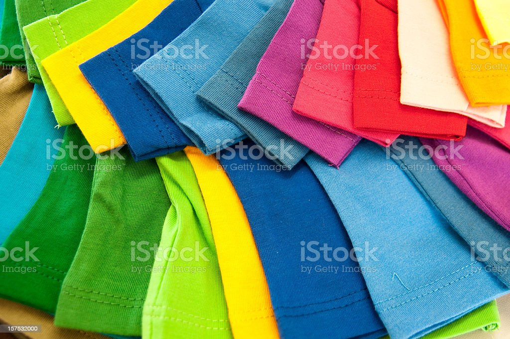 selection of multicolored shirts stock photo