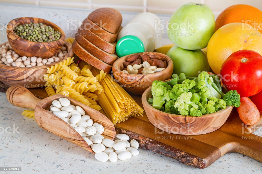 Selection of nutrients for vegetarian diet stock photo