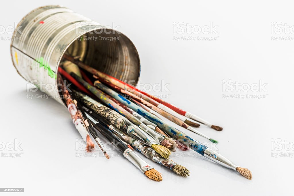 Selection of Old Artist Brushes on White Background stock photo