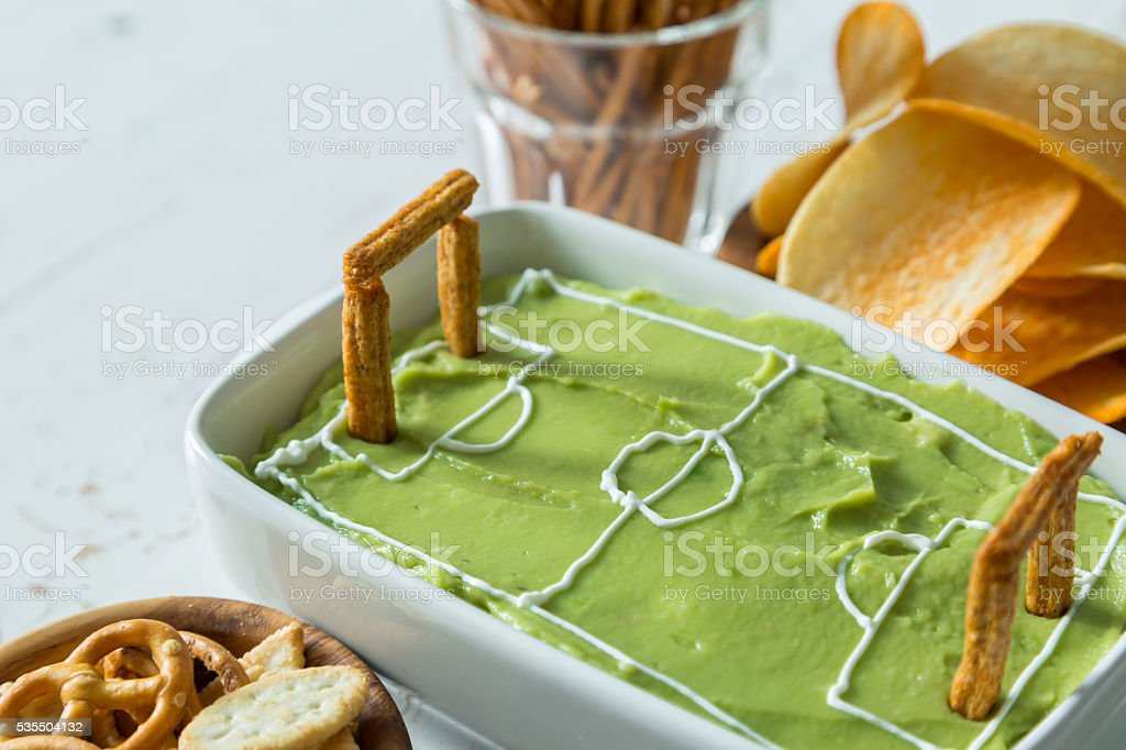 Selection of party food for watching football championship stock photo