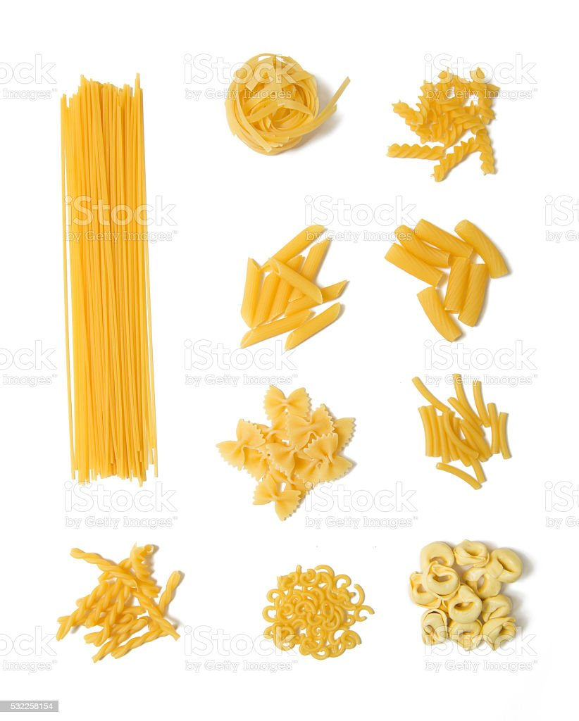 Selection of pasta on white background stock photo
