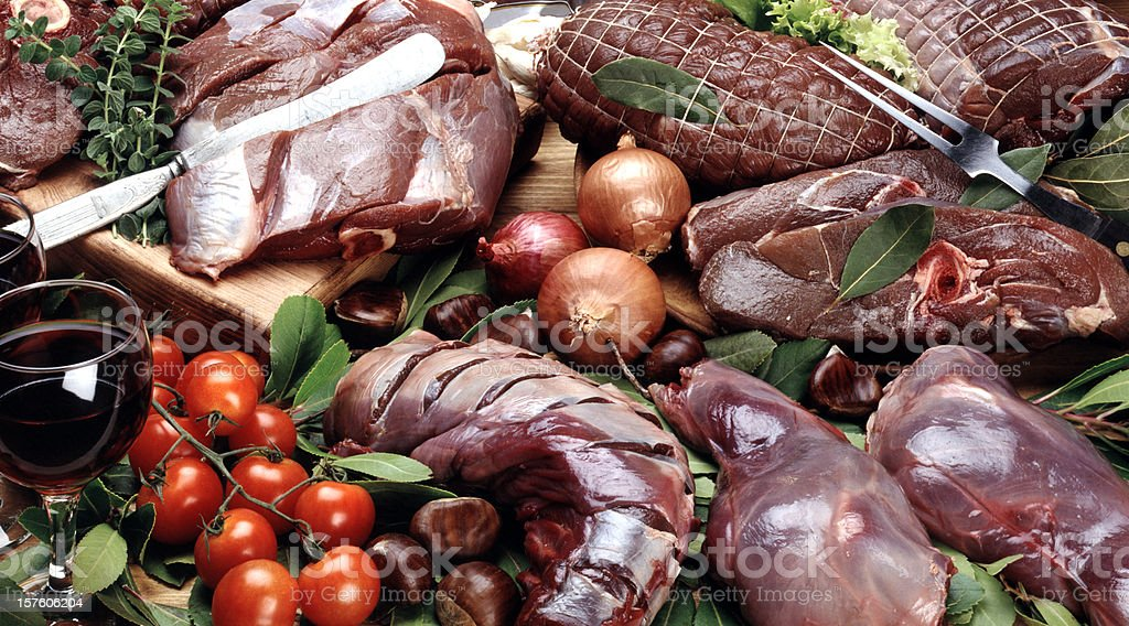 Selection of raw meats stock photo