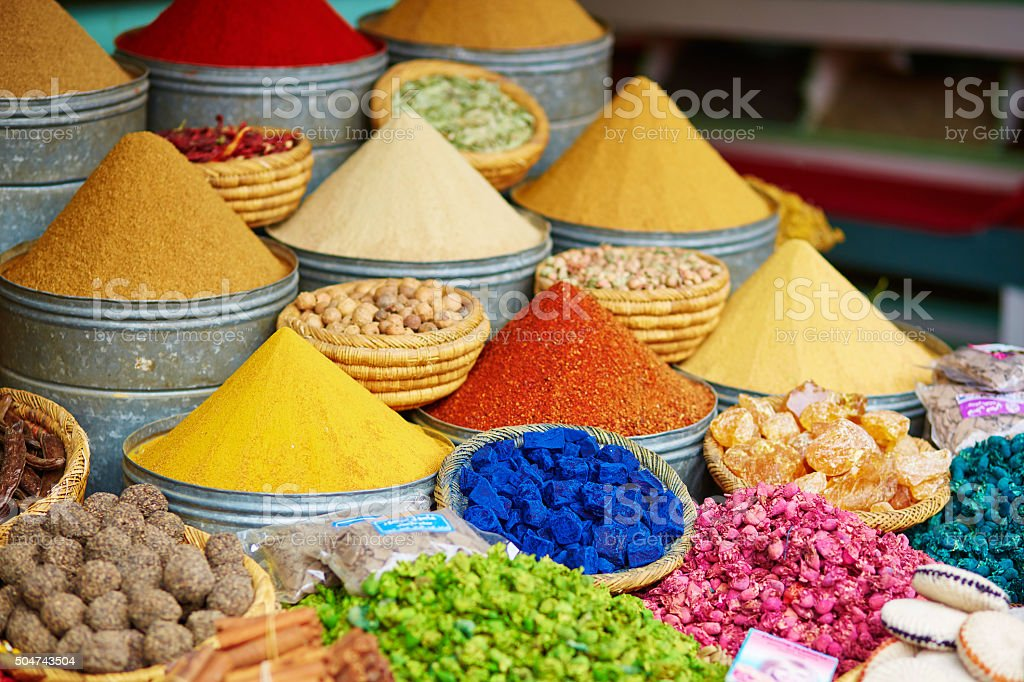 Selection of spices on a Moroccan market stock photo