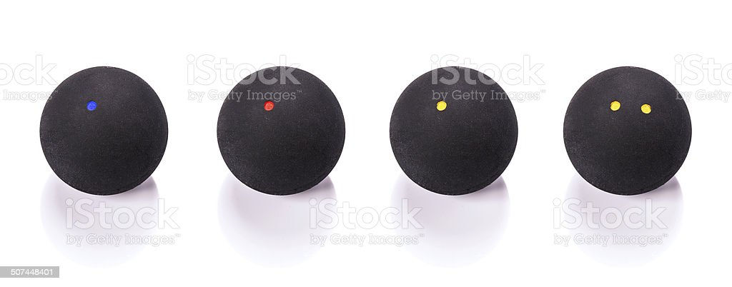 Selection of squash balls stock photo