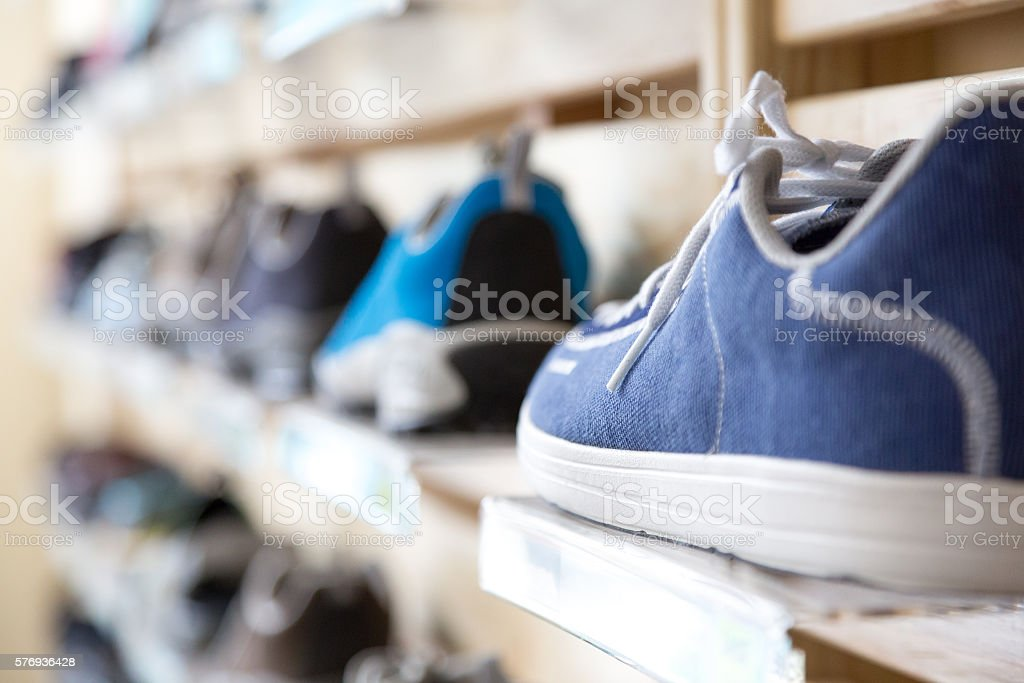 Selection of Summer Season Footwear in Retail Shop stock photo