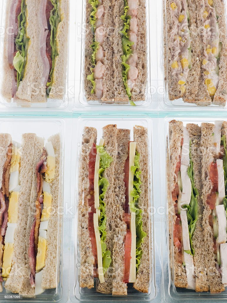 Selection Of Take Away Sandwiches In Plastic Triangles royalty-free stock photo