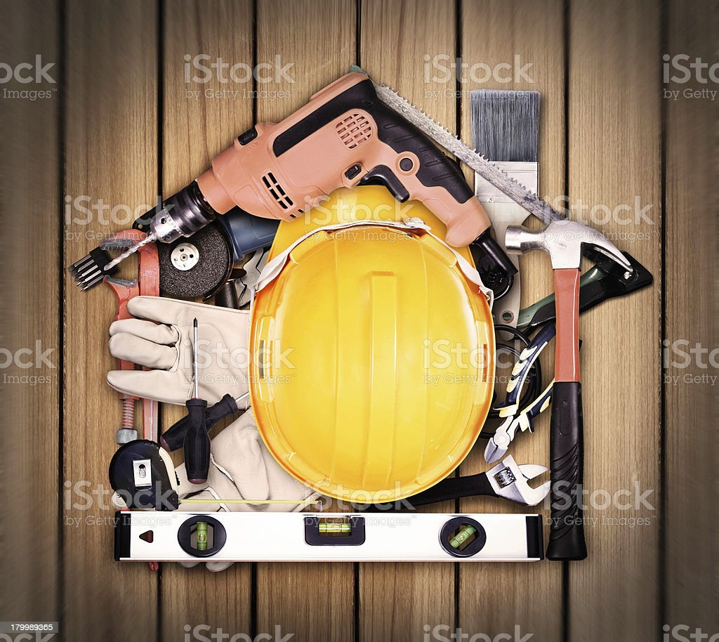 Selection of tools  house royalty-free stock photo