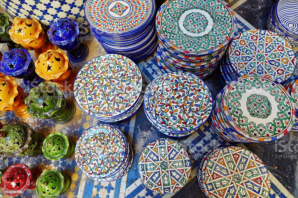 Selection of traditional ceramics on Moroccan market stock photo